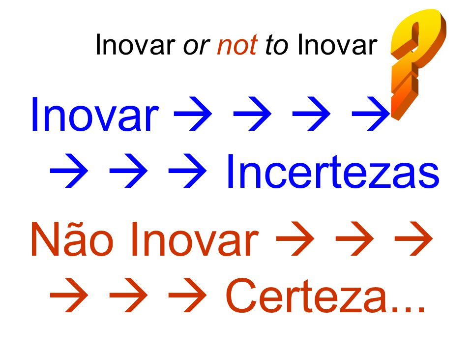 Inovar or not to Inovar Inovar        Incertezas Não Inovar       Certeza...