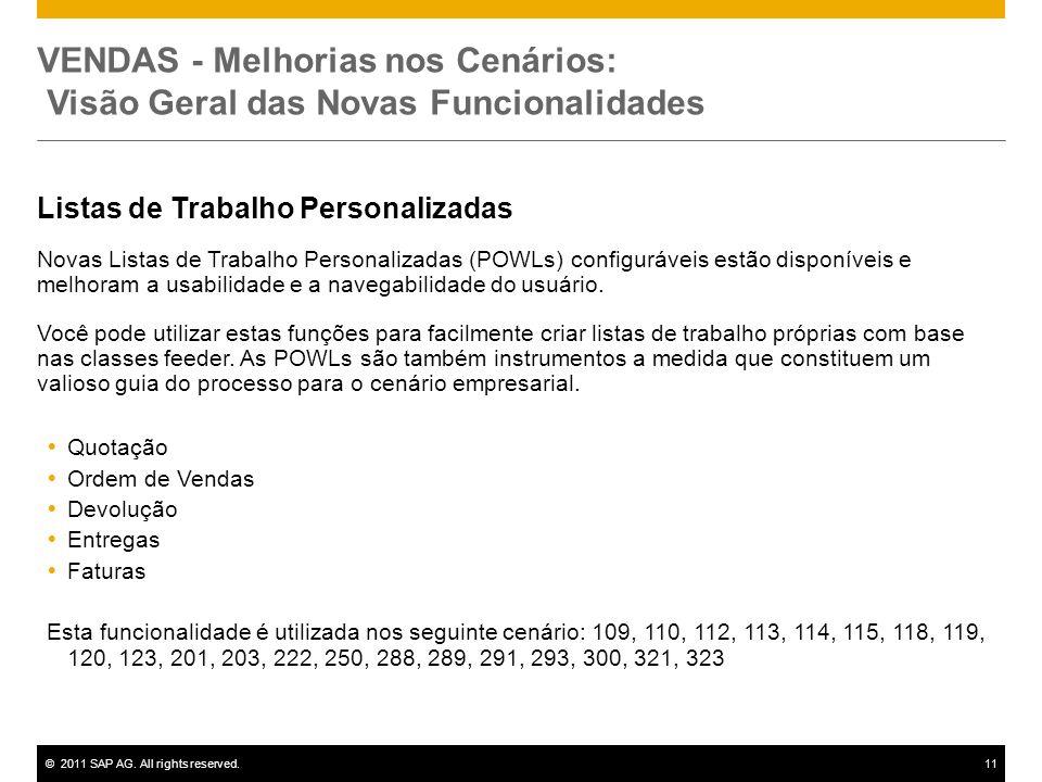 ©2011 SAP AG. All rights reserved.11 VENDAS - Melhorias nos Cenários: Visão Geral das Novas Funcionalidades Listas de Trabalho Personalizadas Novas Li