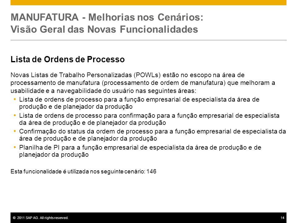 ©2011 SAP AG. All rights reserved.14 MANUFATURA - Melhorias nos Cenários: Visão Geral das Novas Funcionalidades Lista de Ordens de Processo Novas List