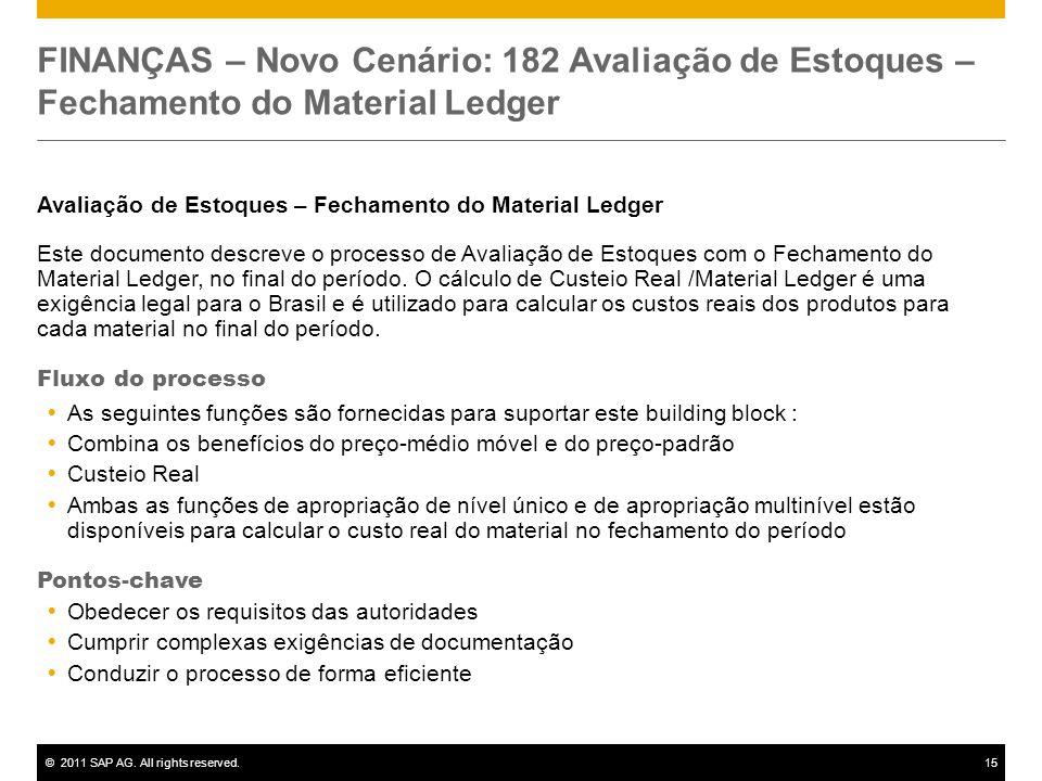 ©2011 SAP AG. All rights reserved.15 FINANÇAS – Novo Cenário: 182 Avaliação de Estoques – Fechamento do Material Ledger Avaliação de Estoques – Fecham