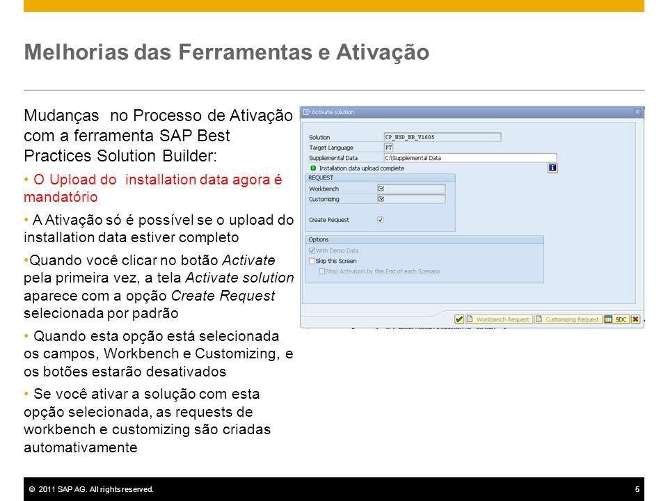 ©2011 SAP AG. All rights reserved.5 Melhorias das Ferramentas e Ativação Mudanças no Processo de Ativação com a ferramenta SAP Best Practices Solution