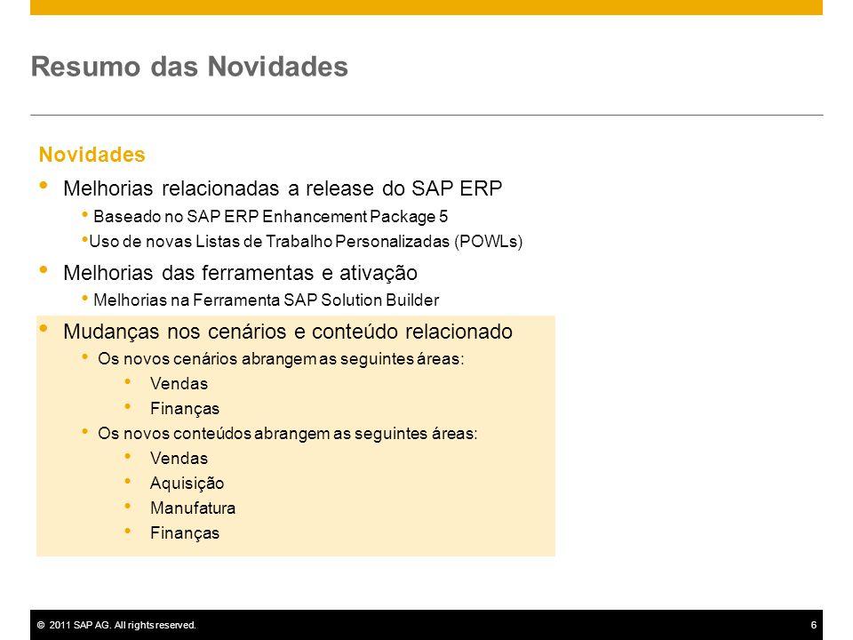 ©2011 SAP AG. All rights reserved.6 Novidades Melhorias relacionadas a release do SAP ERP Baseado no SAP ERP Enhancement Package 5 Uso de novas Listas