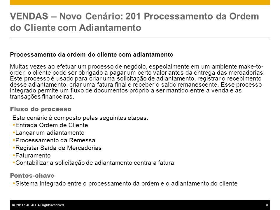 ©2011 SAP AG. All rights reserved.8 VENDAS – Novo Cenário: 201 Processamento da Ordem do Cliente com Adiantamento Processamento da ordem do cliente co