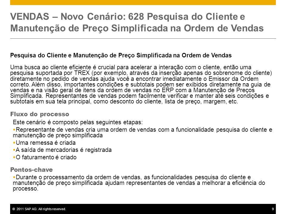 ©2011 SAP AG. All rights reserved.9 VENDAS – Novo Cenário: 628 Pesquisa do Cliente e Manutenção de Preço Simplificada na Ordem de Vendas Pesquisa do C