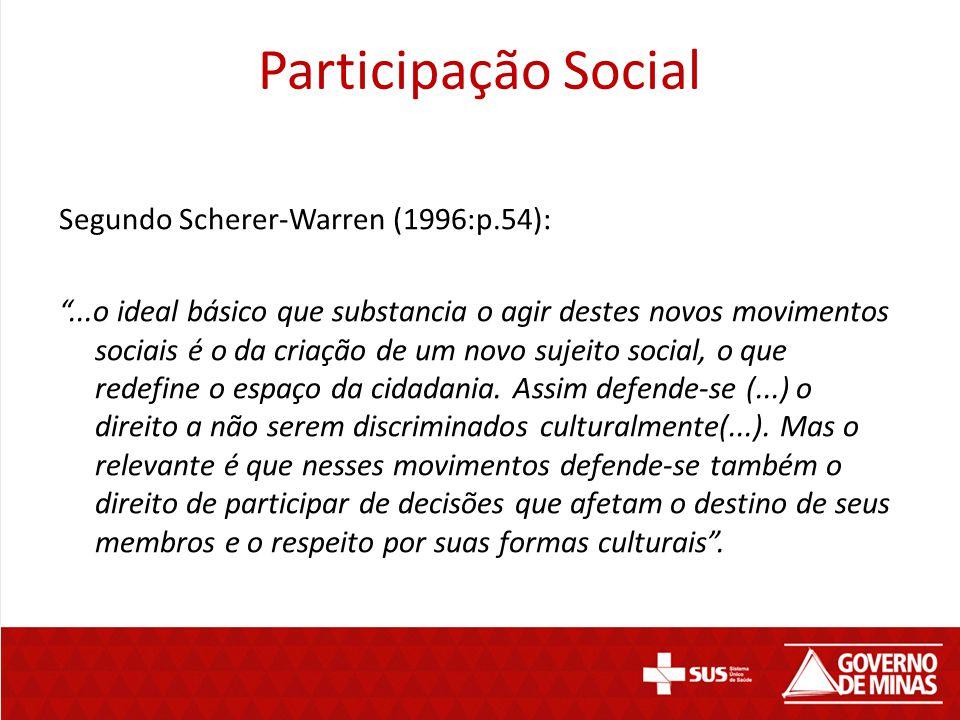 """Participação Social Segundo Scherer-Warren (1996:p.54): """"...o ideal básico que substancia o agir destes novos movimentos sociais é o da criação de um"""