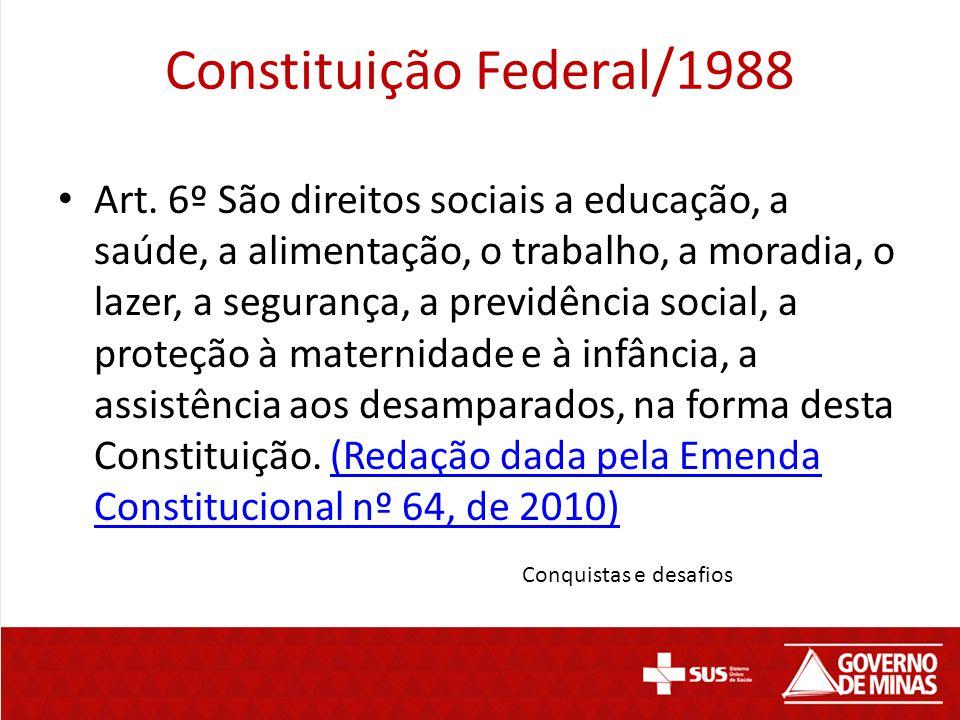 Constituição Federal/1988 Art. 6º São direitos sociais a educação, a saúde, a alimentação, o trabalho, a moradia, o lazer, a segurança, a previdência