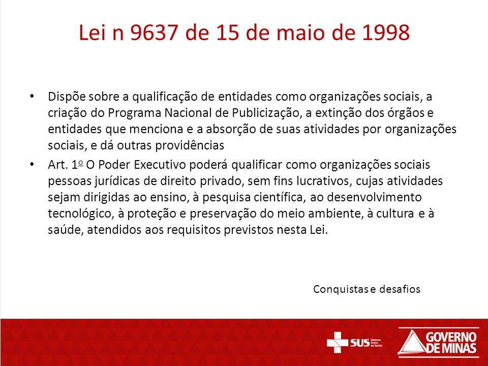 Lei n 9637 de 15 de maio de 1998 Dispõe sobre a qualificação de entidades como organizações sociais, a criação do Programa Nacional de Publicização, a