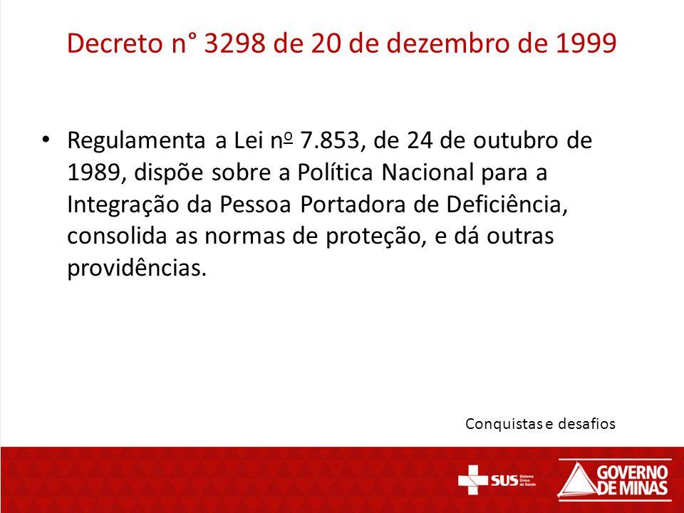 Decreto n° 3298 de 20 de dezembro de 1999 Regulamenta a Lei n o 7.853, de 24 de outubro de 1989, dispõe sobre a Política Nacional para a Integração da