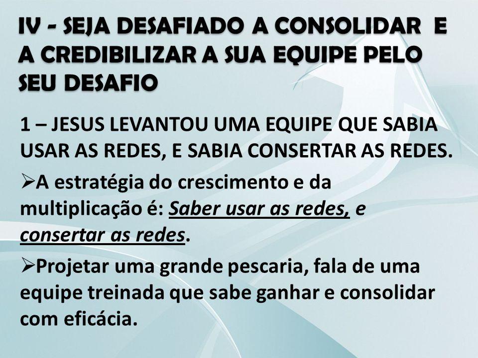 IV - SEJA DESAFIADO A CONSOLIDAR E A CREDIBILIZAR A SUA EQUIPE PELO SEU DESAFIO 1 – JESUS LEVANTOU UMA EQUIPE QUE SABIA USAR AS REDES, E SABIA CONSERT