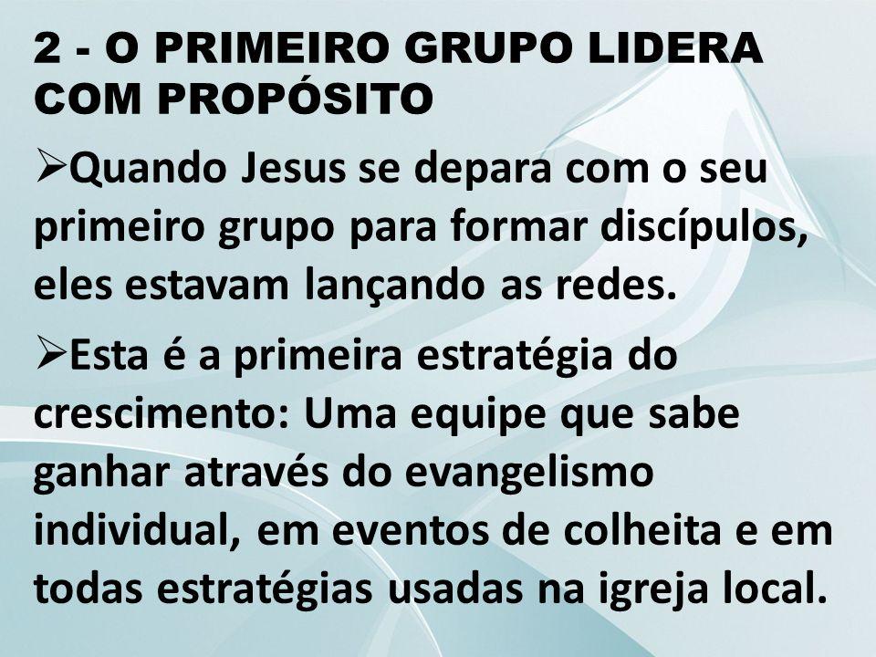 2 - O PRIMEIRO GRUPO LIDERA COM PROPÓSITO  Quando Jesus se depara com o seu primeiro grupo para formar discípulos, eles estavam lançando as redes. 