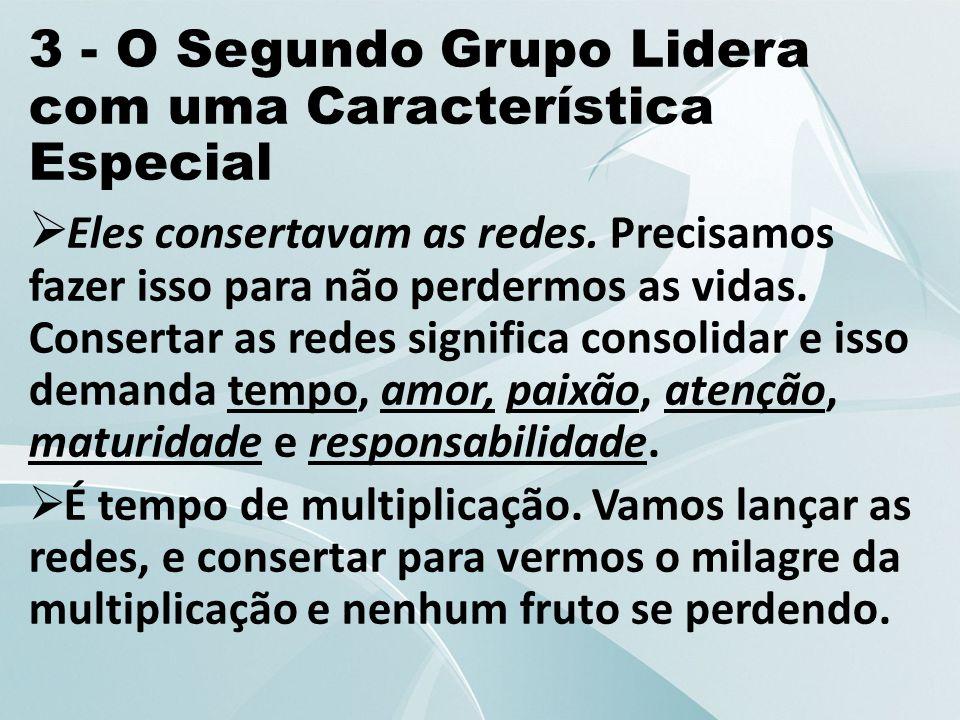 3 - O Segundo Grupo Lidera com uma Característica Especial  Eles consertavam as redes. Precisamos fazer isso para não perdermos as vidas. Consertar a