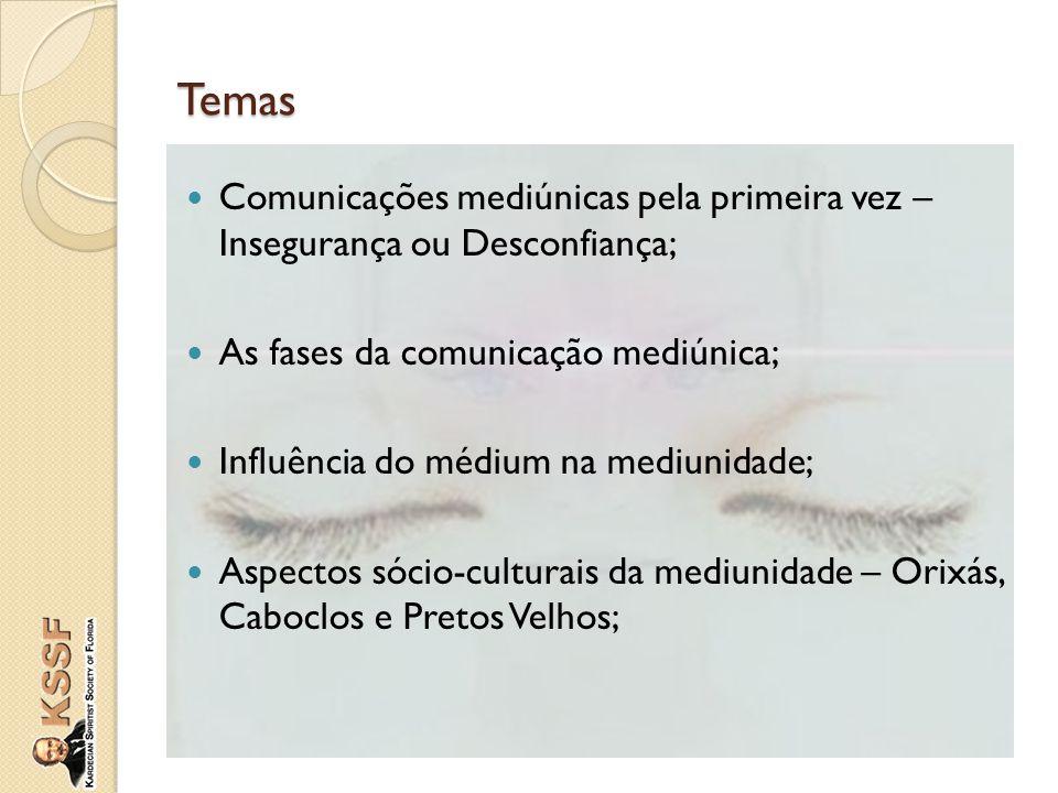 Temas Comunicações mediúnicas pela primeira vez – Insegurança ou Desconfiança; As fases da comunicação mediúnica; Influência do médium na mediunidade;