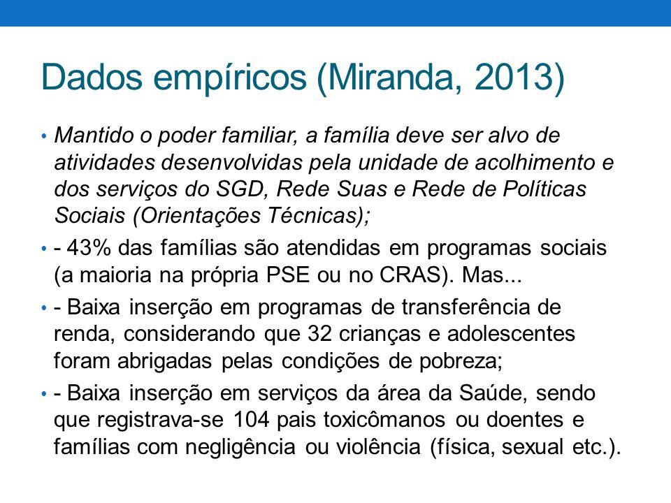 Dados empíricos (Miranda, 2013) Mantido o poder familiar, a família deve ser alvo de atividades desenvolvidas pela unidade de acolhimento e dos serviç