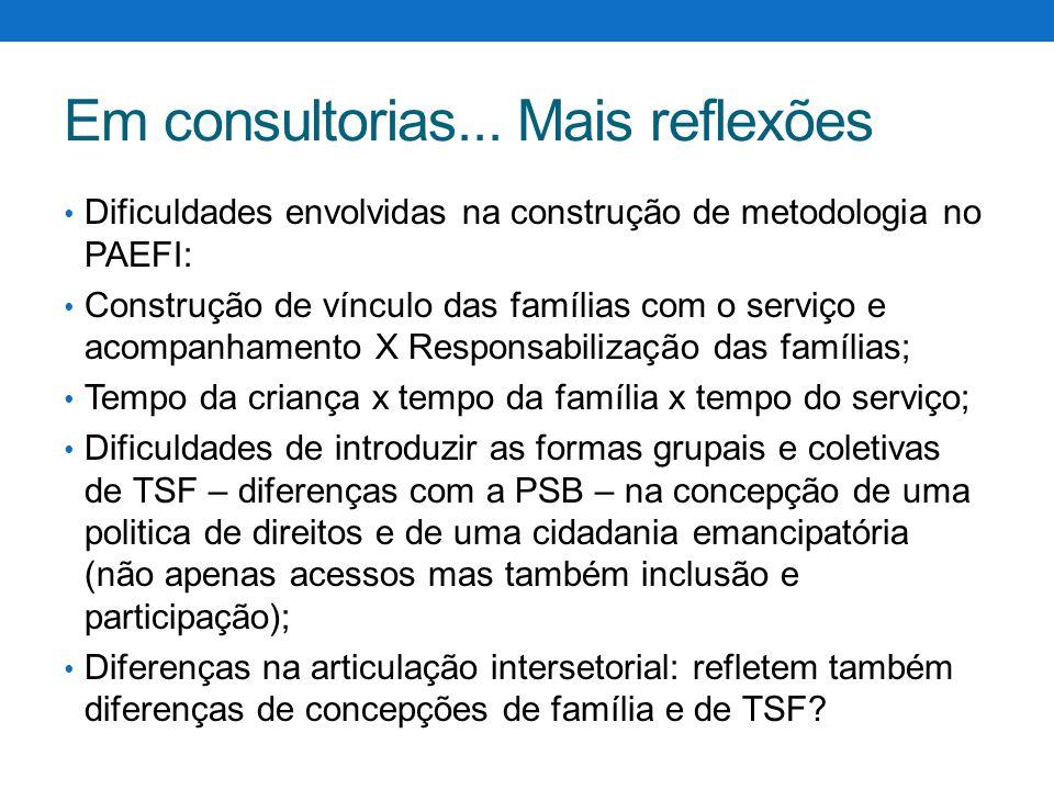 Em consultorias... Mais reflexões Dificuldades envolvidas na construção de metodologia no PAEFI: Construção de vínculo das famílias com o serviço e ac