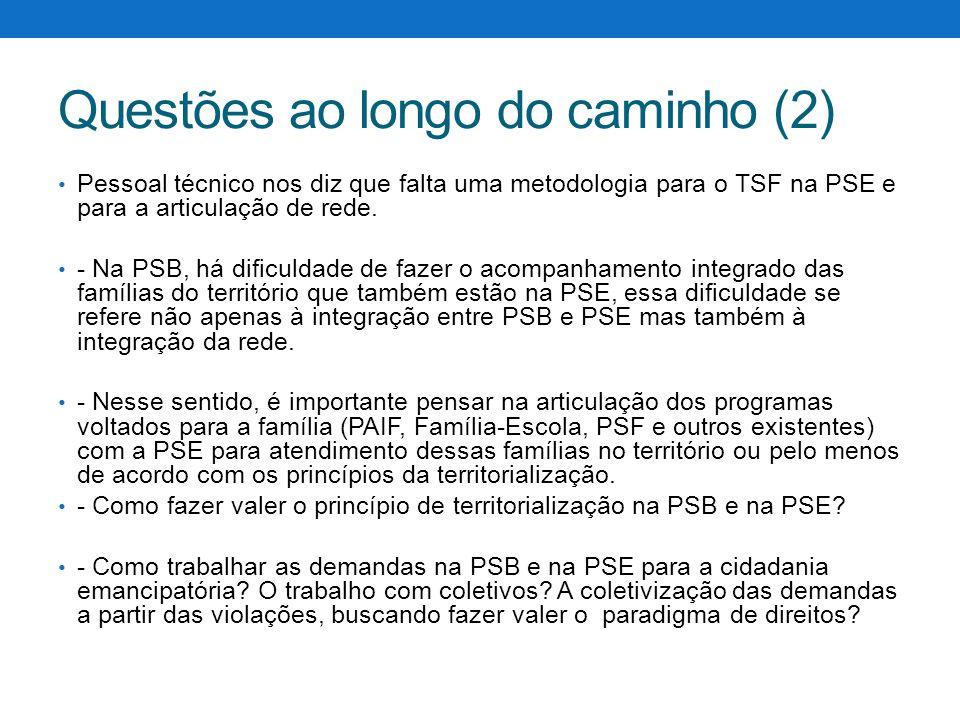 Questões ao longo do caminho (2) Pessoal técnico nos diz que falta uma metodologia para o TSF na PSE e para a articulação de rede. - Na PSB, há dificu