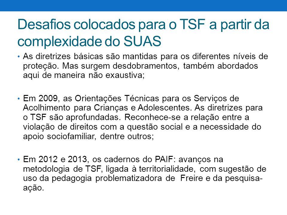 Desafios colocados para o TSF a partir da complexidade do SUAS As diretrizes básicas são mantidas para os diferentes níveis de proteção. Mas surgem de