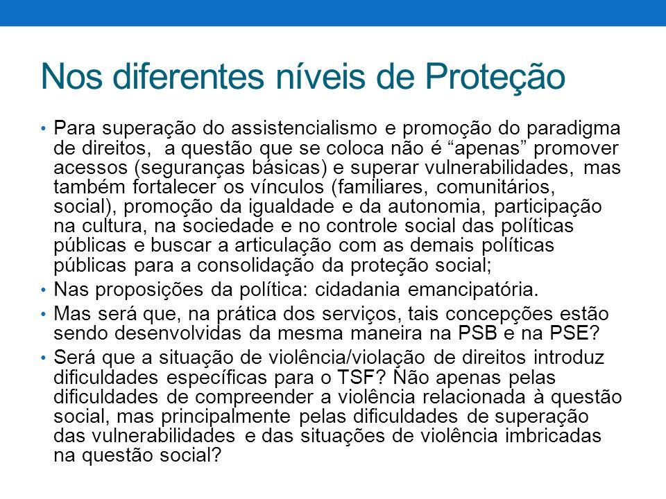 """Nos diferentes níveis de Proteção Para superação do assistencialismo e promoção do paradigma de direitos, a questão que se coloca não é """"apenas"""" promo"""