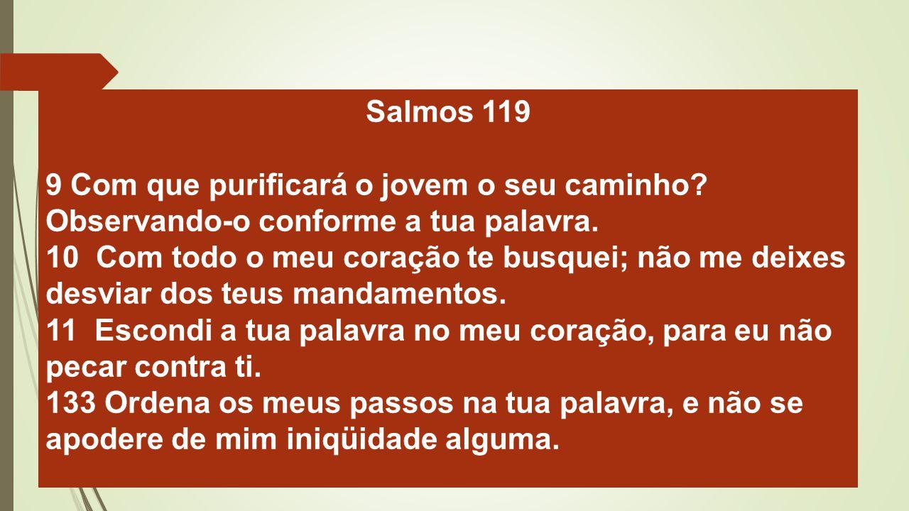Salmos 119 9 Com que purificará o jovem o seu caminho? Observando-o conforme a tua palavra. 10 Com todo o meu coração te busquei; não me deixes desvia