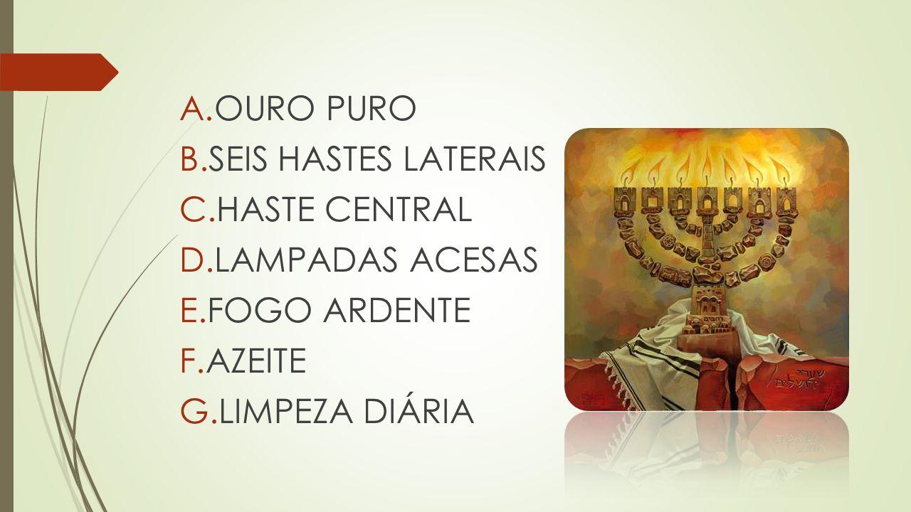 A.OURO PURO B.SEIS HASTES LATERAIS C.HASTE CENTRAL D.LAMPADAS ACESAS E.FOGO ARDENTE F.AZEITE G.LIMPEZA DIÁRIA