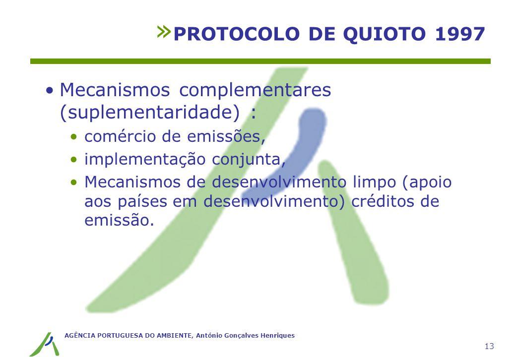 AGÊNCIA PORTUGUESA DO AMBIENTE, António Gonçalves Henriques 13 » PROTOCOLO DE QUIOTO 1997 Mecanismos complementares (suplementaridade) : comércio de e