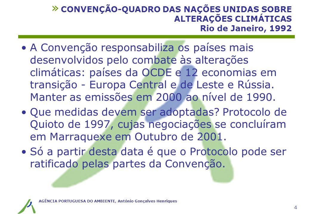 AGÊNCIA PORTUGUESA DO AMBIENTE, António Gonçalves Henriques 4 » CONVENÇÃO-QUADRO DAS NAÇÕES UNIDAS SOBRE ALTERAÇÕES CLIMÁTICAS Rio de Janeiro, 1992 A