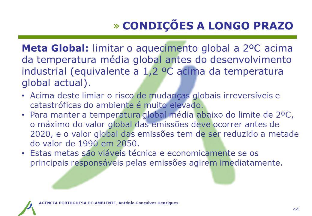 AGÊNCIA PORTUGUESA DO AMBIENTE, António Gonçalves Henriques 44 »CONDIÇÕES A LONGO PRAZO Meta Global: limitar o aquecimento global a 2ºC acima da tempe
