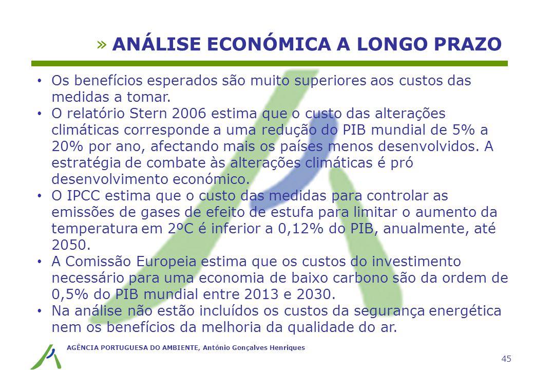 AGÊNCIA PORTUGUESA DO AMBIENTE, António Gonçalves Henriques 45 »ANÁLISE ECONÓMICA A LONGO PRAZO Os benefícios esperados são muito superiores aos custo