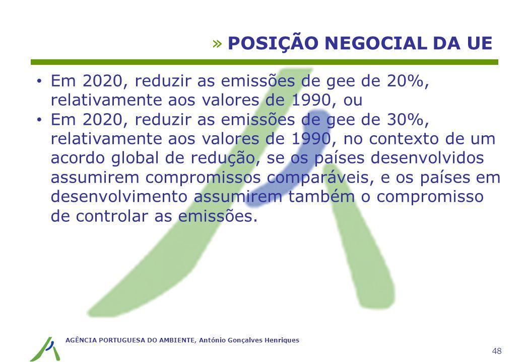 AGÊNCIA PORTUGUESA DO AMBIENTE, António Gonçalves Henriques 48 »POSIÇÃO NEGOCIAL DA UE Em 2020, reduzir as emissões de gee de 20%, relativamente aos v