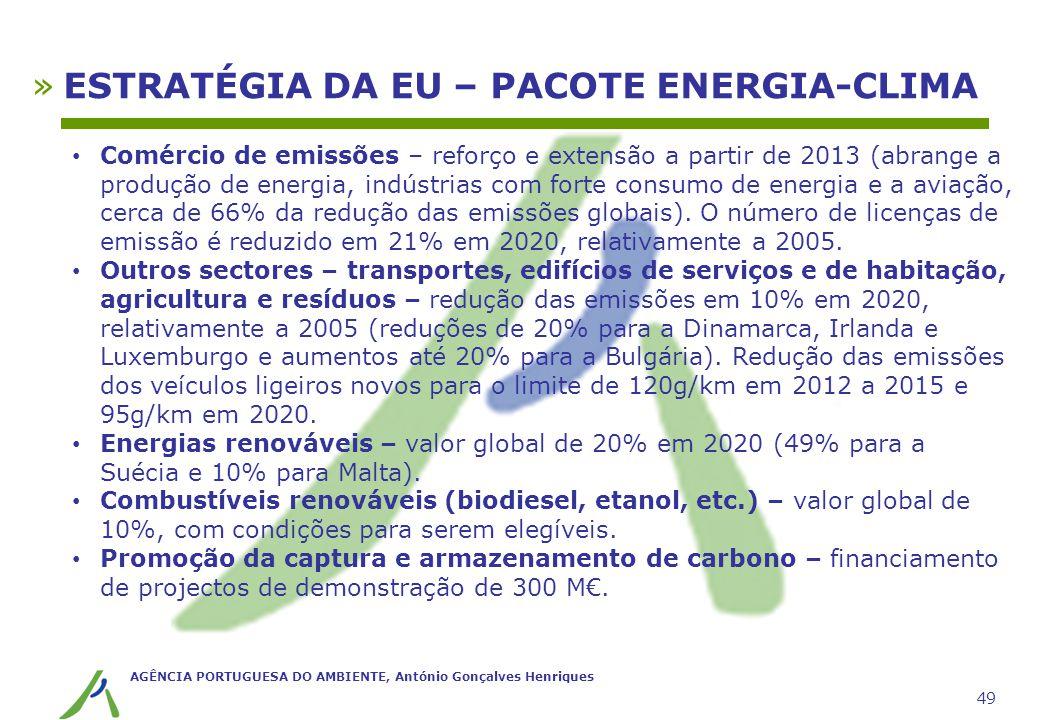 AGÊNCIA PORTUGUESA DO AMBIENTE, António Gonçalves Henriques 49 »ESTRATÉGIA DA EU – PACOTE ENERGIA-CLIMA Comércio de emissões – reforço e extensão a pa