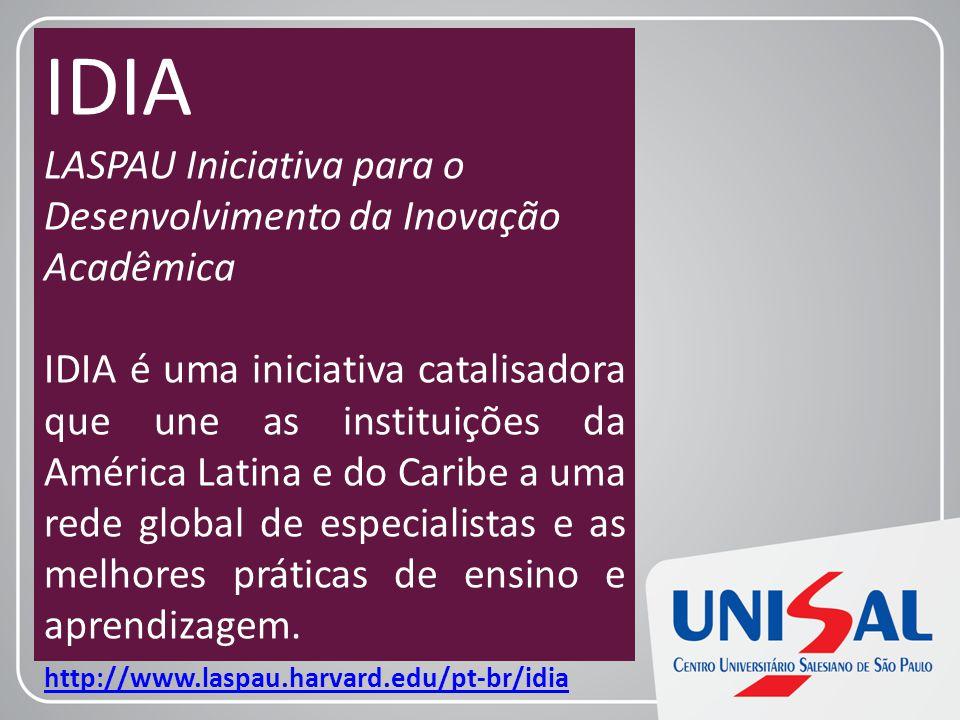 IDIA LASPAU Iniciativa para o Desenvolvimento da Inovação Acadêmica IDIA é uma iniciativa catalisadora que une as instituições da América Latina e do Caribe a uma rede global de especialistas e as melhores práticas de ensino e aprendizagem.