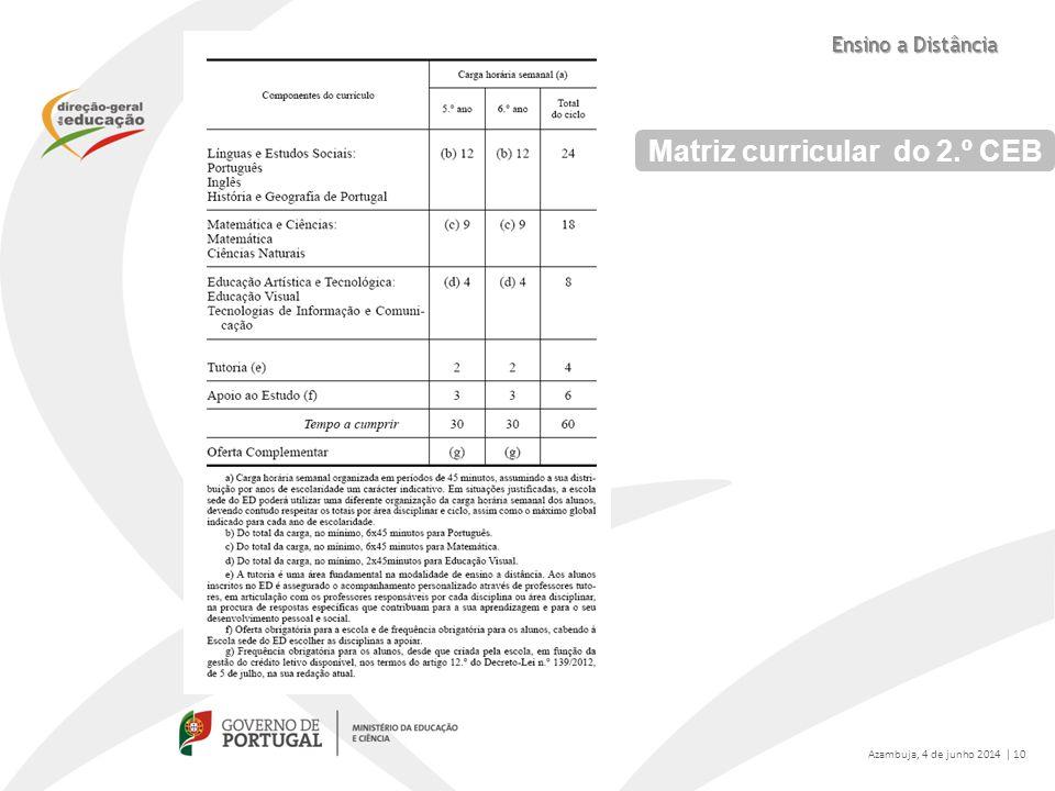 Matriz curricular do 2.º CEB Azambuja, 4 de junho 2014 | 10 Ensino a Distância