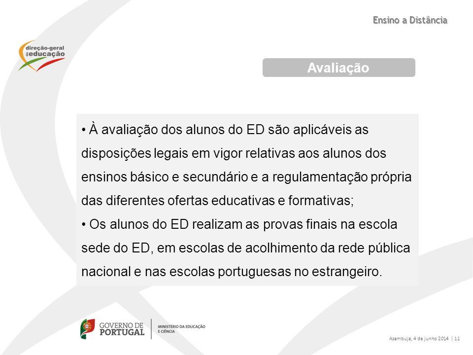 Avaliação À avaliação dos alunos do ED são aplicáveis as disposições legais em vigor relativas aos alunos dos ensinos básico e secundário e a regulame