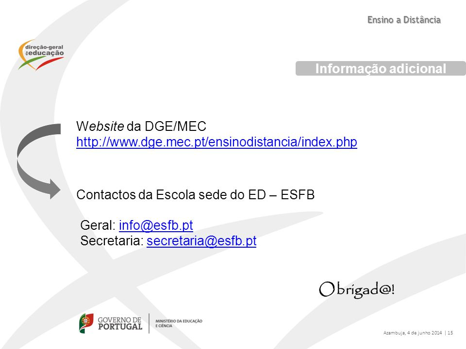 Website da DGE/MEC http://www.dge.mec.pt/ensinodistancia/index.php http://www.dge.mec.pt/ensinodistancia/index.php Contactos da Escola sede do ED – ES