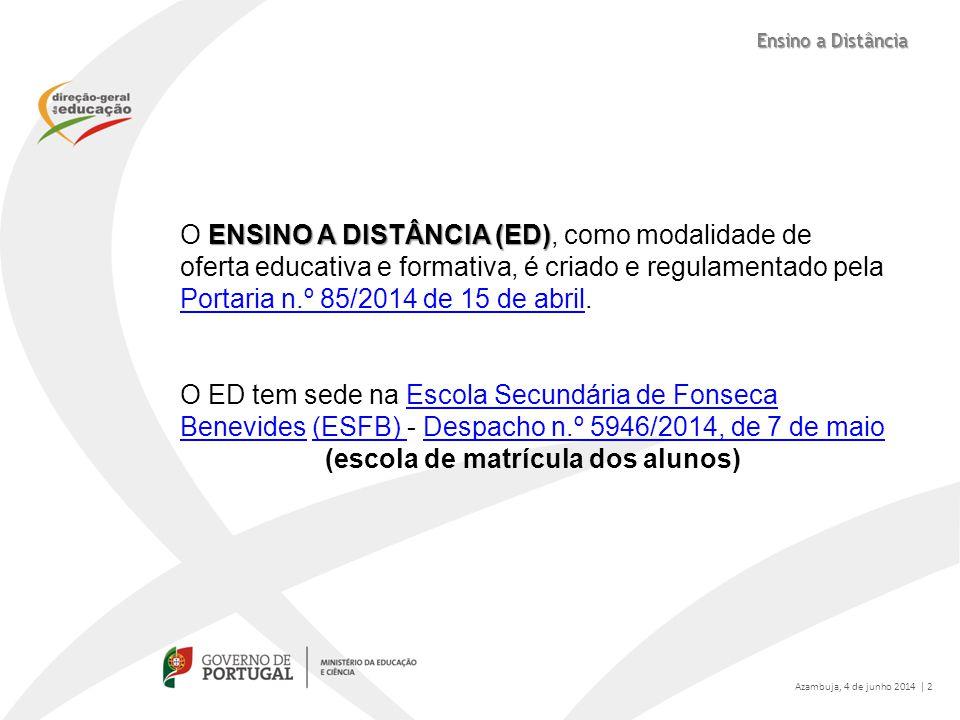 ENSINO A DISTÂNCIA (ED) O ENSINO A DISTÂNCIA (ED), como modalidade de oferta educativa e formativa, é criado e regulamentado pela Portaria n.º 85/2014