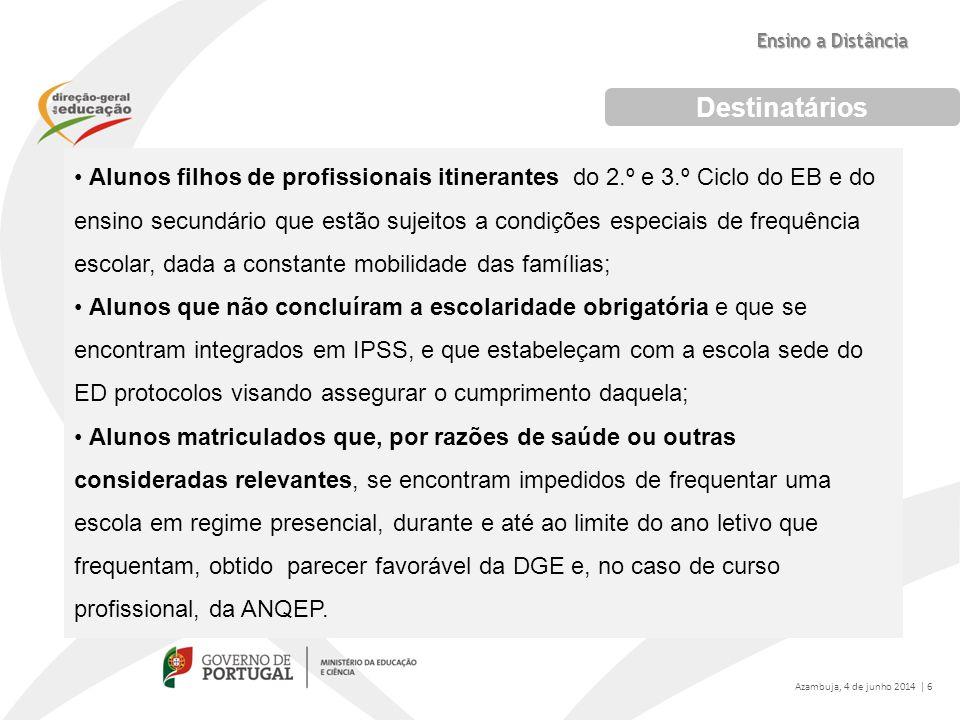 Destinatários Alunos filhos de profissionais itinerantes do 2.º e 3.º Ciclo do EB e do ensino secundário que estão sujeitos a condições especiais de f