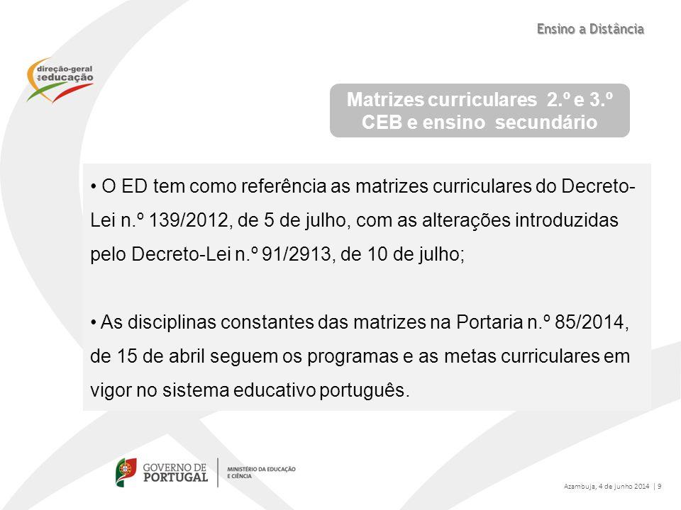 Matrizes curriculares 2.º e 3.º CEB e ensino secundário O ED tem como referência as matrizes curriculares do Decreto- Lei n.º 139/2012, de 5 de julho,