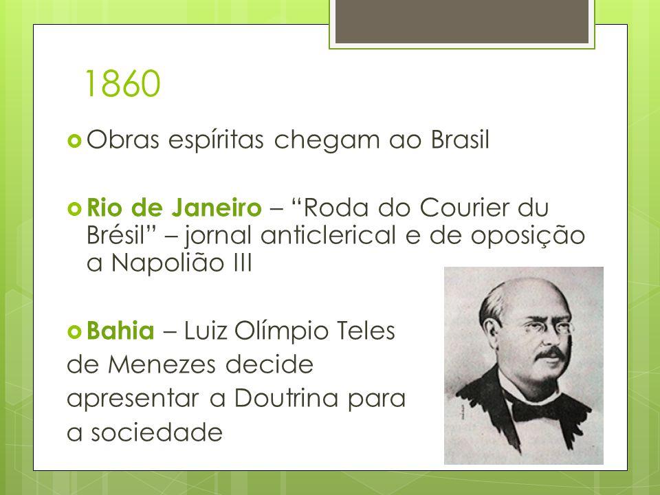 """1860  Obras espíritas chegam ao Brasil  Rio de Janeiro – """"Roda do Courier du Brésil"""" – jornal anticlerical e de oposição a Napolião III  Bahia – Lu"""
