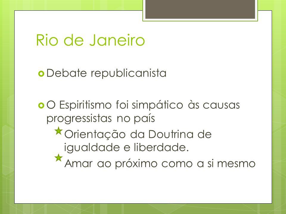Rio de Janeiro  Debate republicanista  O Espiritismo foi simpático às causas progressistas no país Orientação da Doutrina de igualdade e liberdade.