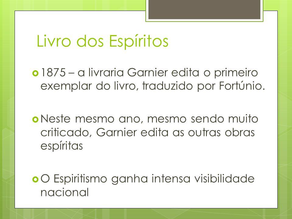 Livro dos Espíritos  1875 – a livraria Garnier edita o primeiro exemplar do livro, traduzido por Fortúnio.