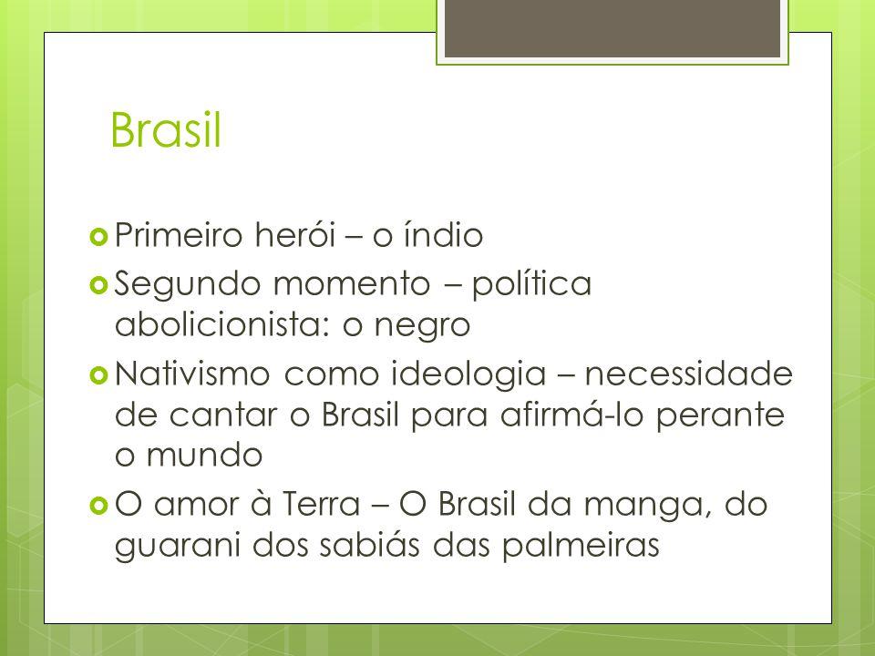 Brasil  Primeiro herói – o índio  Segundo momento – política abolicionista: o negro  Nativismo como ideologia – necessidade de cantar o Brasil para afirmá-lo perante o mundo  O amor à Terra – O Brasil da manga, do guarani dos sabiás das palmeiras