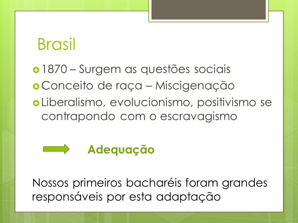 Brasil  1870 – Surgem as questões sociais  Conceito de raça – Miscigenação  Liberalismo, evolucionismo, positivismo se contrapondo com o escravagis
