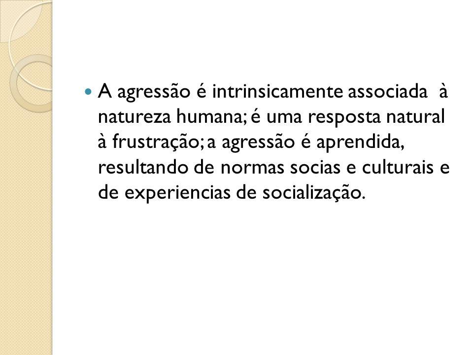 A agressão é intrinsicamente associada à natureza humana; é uma resposta natural à frustração; a agressão é aprendida, resultando de normas socias e culturais e de experiencias de socialização.