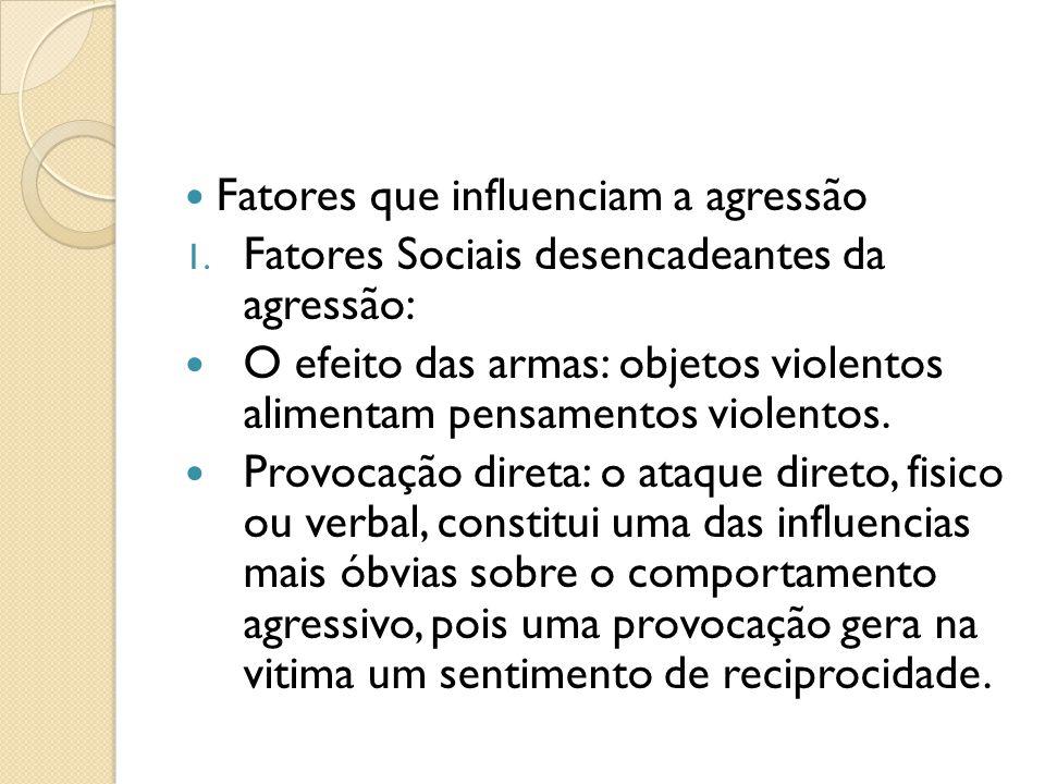 Fatores que influenciam a agressão 1.