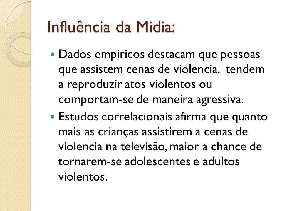 Influência da Midia: Dados empiricos destacam que pessoas que assistem cenas de violencia, tendem a reproduzir atos violentos ou comportam-se de maneira agressiva.