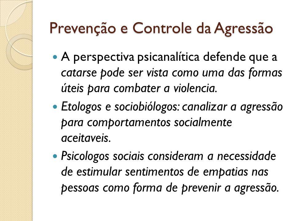 Prevenção e Controle da Agressão A perspectiva psicanalítica defende que a catarse pode ser vista como uma das formas úteis para combater a violencia.