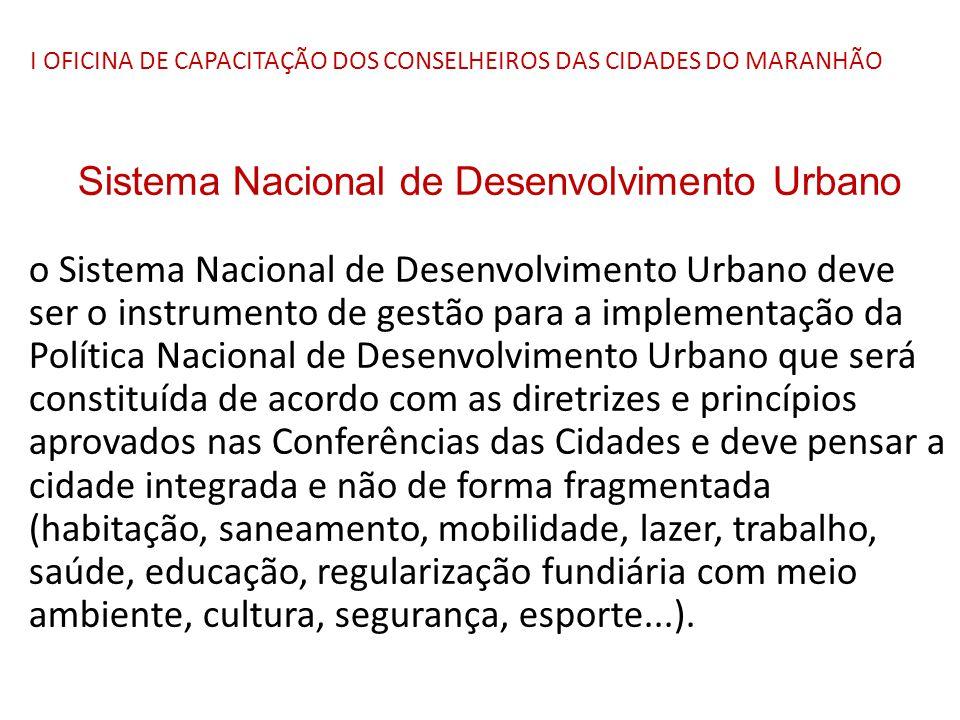 I OFICINA DE CAPACITAÇÃO DOS CONSELHEIROS DAS CIDADES DO MARANHÃO Sistema Nacional de Desenvolvimento Urbano o Sistema Nacional de Desenvolvimento Urb