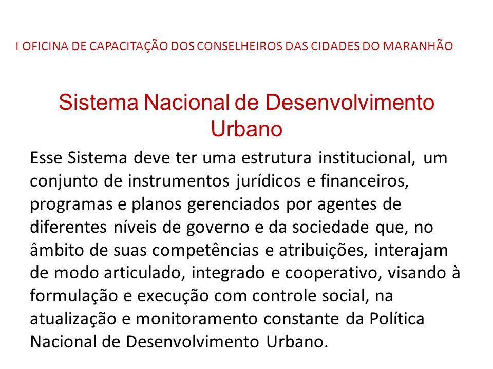 I OFICINA DE CAPACITAÇÃO DOS CONSELHEIROS DAS CIDADES DO MARANHÃO Sistema Nacional de Desenvolvimento Urbano Esse Sistema deve ter uma estrutura insti