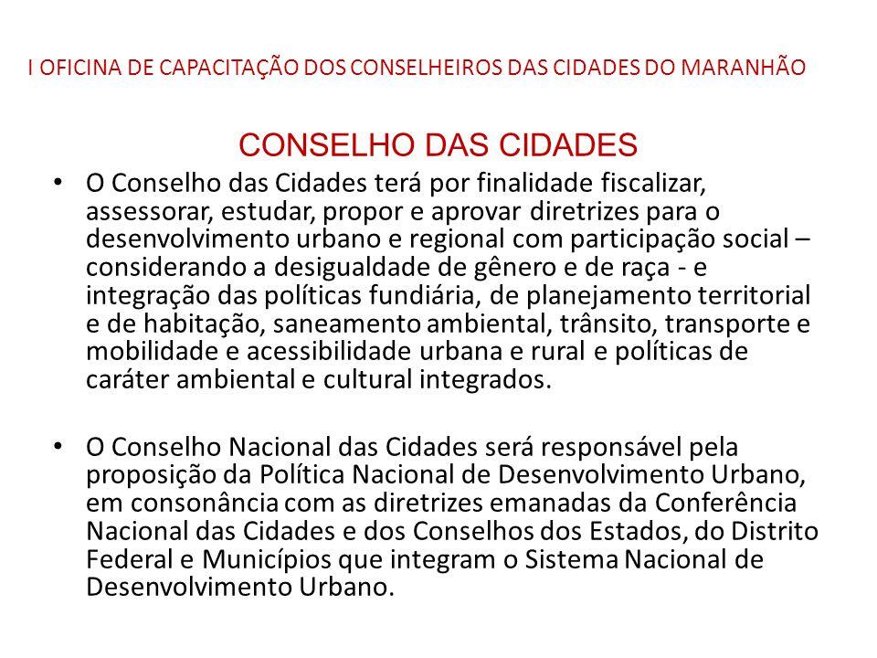 I OFICINA DE CAPACITAÇÃO DOS CONSELHEIROS DAS CIDADES DO MARANHÃO CONSELHO DAS CIDADES O Conselho das Cidades terá por finalidade fiscalizar, assessor