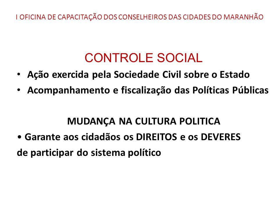 I OFICINA DE CAPACITAÇÃO DOS CONSELHEIROS DAS CIDADES DO MARANHÃO CONTROLE SOCIAL Ação exercida pela Sociedade Civil sobre o Estado Acompanhamento e f