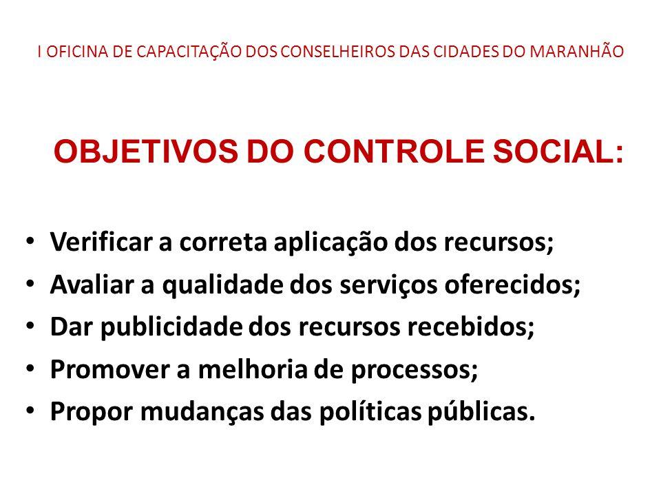 I OFICINA DE CAPACITAÇÃO DOS CONSELHEIROS DAS CIDADES DO MARANHÃO OBJETIVOS DO CONTROLE SOCIAL: Verificar a correta aplicação dos recursos; Avaliar a